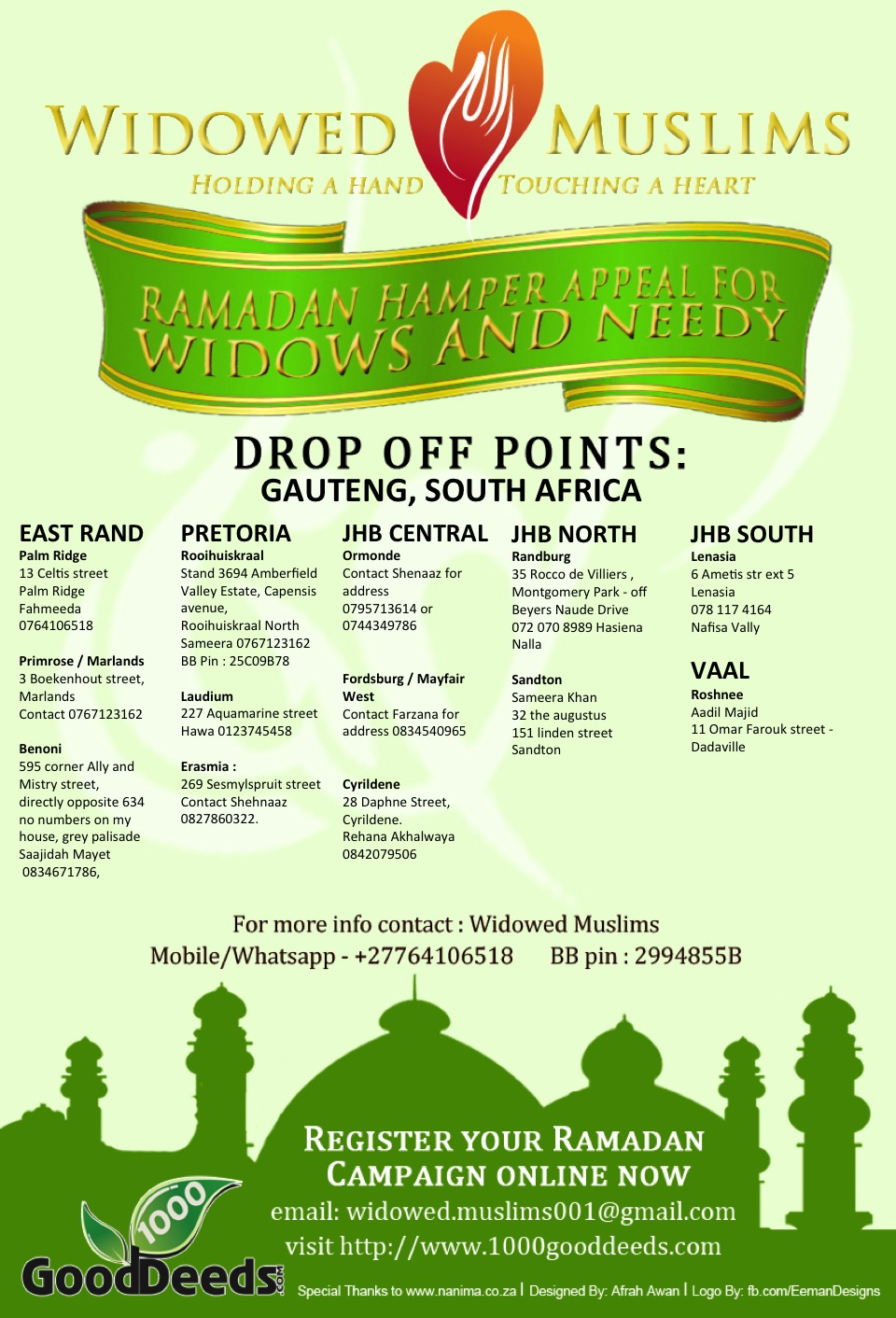 Drop off points widowed muslims gauteng